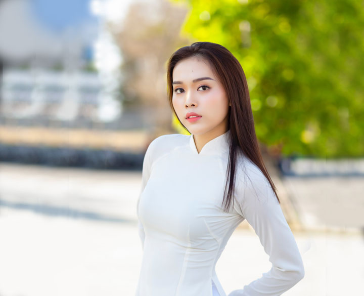 Thailand woman wearing white dress